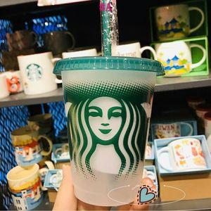 Starbucks Mermaid Goddess 16oz 473ml Plastic Mugs Tumbler Reusable Clear Drinking Flat Bottom Cups Pillar Shape Lid Straw Bardian 50pcs