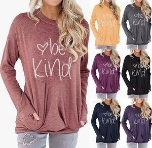 Be Kind Letter Printed Hoodie 9 Colors Women Pocket Printed Round Neck Batwing Sleeve Girls Shirts 10pcs LJJO7217