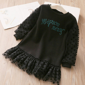 Frühlingskinder Kleider für Mädchen Langarm Prinzessin Kleid Neues Kleinkind Mädchen Party Kleidung Kinder Tutu Kleid dunstige Schönheit 210310