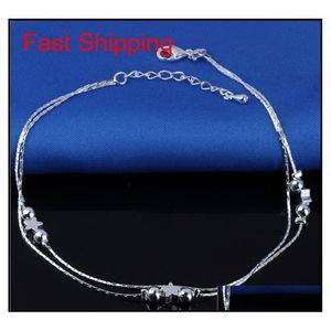 Nouveau Bracelet de la cheville Stralle Sterling 925 pour les femmes Bijoux en pieds d'incrustation Zircon anklets Bracelet sur une jambe p qylrqw bdewome