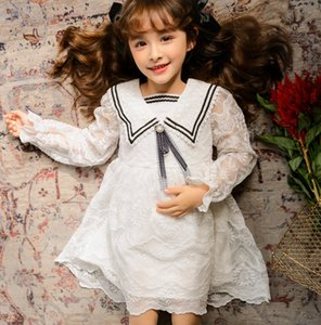 Girls lace embroidered Gauze dress 2021 new kids Bow square lapel long sleeve princess dress children lace falbala dresses A5848