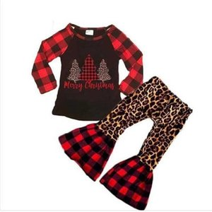 Ins kids girls children's christmas clothing pajamas set red & black buffalo plaid blouse pullover hoodie Tshirt tops and flare pants 2-piece Xmas outfits G02WV07