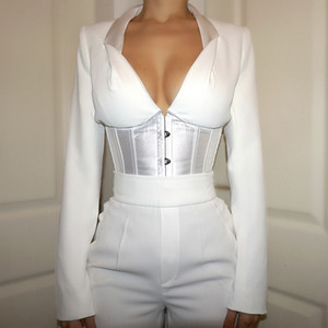 Sexy v Neck Bustier Blouse Long Sleeve Shirts Women 2021 New Arrival Women Lace Up Tops Corset Elegant Bandage Tops