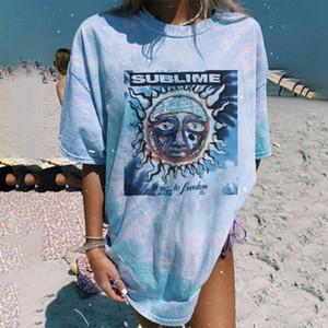 SUBLIME Shirt Abstract Sun Printed Blue Tie Dye Loose Plus Size T-shirt 2021 Summer Streetwear Women Short Sleeve tye dye S-3XL
