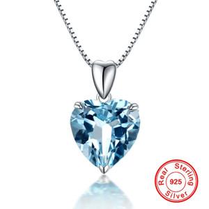 NATURAL BLU Topaz Pendant 925 Sterling Silver Collana di colore per le donne cuore Blue Crystal Gemstone Ciondolo Collana Collana Collana Compleanno 0213