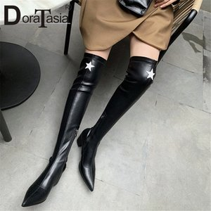 Doratasia New Womens muslo Botas altas Kid Suede puntiagudo Toe Chunky Tacones Zapatos Mujer Party Over Ther Knee Boots Femenina N1YZ #