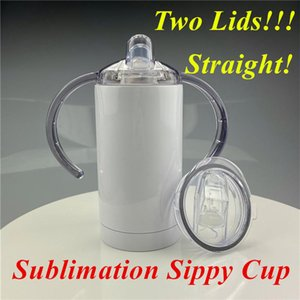 12oz Sublimation STRAIGHT sippy cup Subliamtion baby cup kids tumbler iwith TWO LIDS Stainless Steel tumbler with handle Sucker Cup