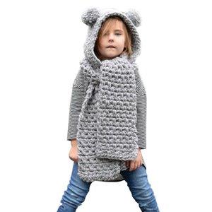Scarves & Wraps 1Pcs Kids Toddlers Winter Warm Plush Hat Earflap Scarf Kit With Long Shawl