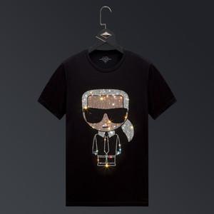 Mens verão 2021 homens manga curta t-shirt t-shirt tendência de strass quente mens meia manga slim net t-shirt vermelho algodão Mercerizado tamanho grande
