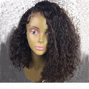 8a Lace Front Wigs Brazilian Virgin Human Hair Bob Haircut Loose Curly 200% Density Natural Hairline Preplucked With Baby Hair