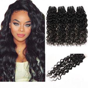 Envío gratis Indian Human Hair Traffs Best 10a Brasilian Hair Hair Pein Bundles con el cierre Water Wave Wholesale 4bundles con cierre