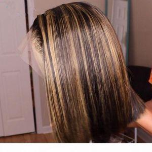 Ombre Vurgula Peruk Bob Kahverengi Bal Sarışın Renkli Düz HD Tüm Dantel Ön İnsan Saç Peruk Düz Tam 360 Dantel Frontal Peruk Remy