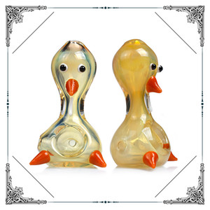 silver fume 3D Duck glass hand tobacco pipes glass spoon pipes heady high quality glass oil rig smoking pipe