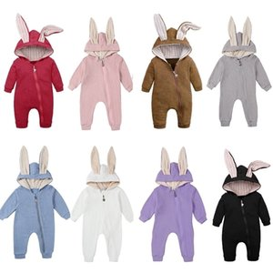 New Hooded Rompers Rabbit Ear For Babies Boys Girls Clothes Romper Newborn Jumpsuit Infant Costume Baby Outfits Clothing 210309