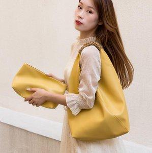 Мягкие искусственные кожаные женские сумки на плечо большой емкости плетеный ручной ремень сумка женское составное мешок кошелек и сумки хаки TOMES
