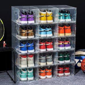 Thicken Plastic Sport Shoes Dustproof Storage Boxes Transparent Sneaker Stackable Organizer Domestic Box Exhibition cabinet size 47 us13