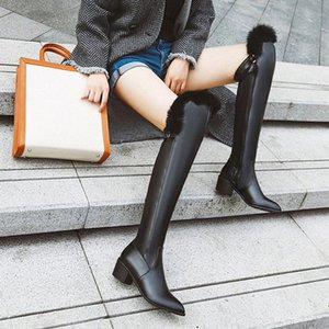 2019 Winter Female Over The Knee Boots Women Thigh High Boot Fur Zip Thick Heels Shoes Woman Knight Boots Size 33 43 Botas Mujer Boots G8Zt#