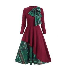 Casual Dresses Hillsionly Plus Size Fashion Women Plaid Bowknot Long Sleeve Dress O Neck Stitching Big Swing Evening Party Elegant Maxi