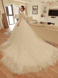 2021 Новое эндотек кружева ES причудливые аппликации с бисером с длинным рукавом свадебные арабские мусульманские свадебные платья Vestidos de Noiva 86M1