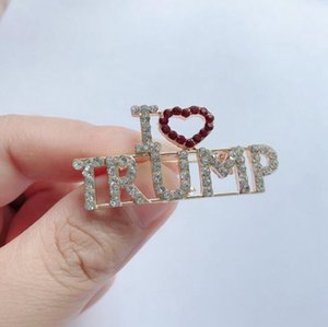 2024 Donald Trump Crystal Rhinestones Brooch Metal Button Badge Cloth Pins United States President Campaign Women Men Jewelry