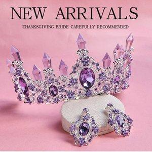 Arrival Charming Purple Crystal Bridal Tiara Crowns Magnificent Diadem for Princess Wedding Hair Accessories 210616
