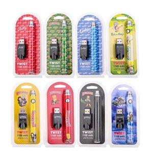 Cookies Cartridges Backwoods Battery TWIST Vape Pen 1100mAh 510 Thread Oil Cartridge Adjustable Batteries with USB Box Packaging