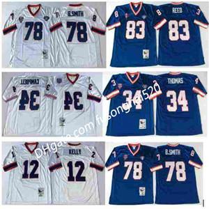 Vintage NCAA MEN 12 JIM KELLY 34 THURMAN THOMAS 78 Bruce Smith 83 Andre Reed 1994 Vintage Blanco Blanco Blue College Football Jerseys