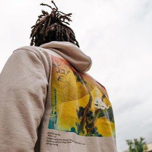 2021 Neue Kinder sehen Geister Hoodie Männer Frauen Baumwolle Kanye West Pullover Splash Tinte Ghost Buchstaben Aprikosen Sweatshirts 7127