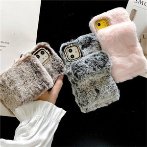Fluffy Plush Wrist Strap fashion designers case for iphone 12 pro max phone cases 11 Pro Max X XS XR Max Soft Winter Warm Back Cover