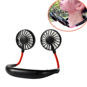 Ventilador de cuello colgante Portátil USB recargable Lazy Manos Libre Dual Enfriamiento Mini Aire Cooler Deporte 360 Golpeado de 1200mAh al aire libre