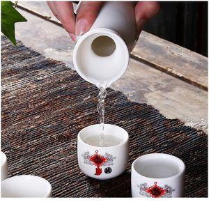 Japanese Sake Set, 7 Pieces Sake Set Hand Painted Design Porcelain Pottery Traditional Ceramic Cups Crafts Wine Glasses jlldiw