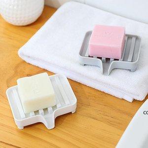 Plastic Bathroom Soaps Dish Plates Bathrooms Drain Soap Storage Anti-slip Tray Plate Eco-friendly Box Container Bathing Supplies DHA8788