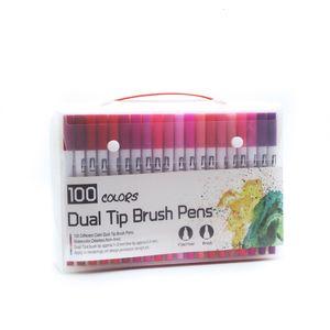 Двойная головка Mark Water Color Pen, линия рисунок ручки, 12 36 72 цвета, 100 цветов