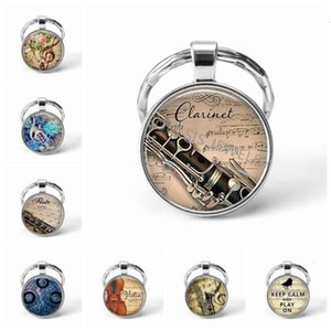 hot cake Instrument Musical Clarinet Guitar Te Violin Chain Pendant Note Keychain Key Rings Music Glass Dome Jewelry