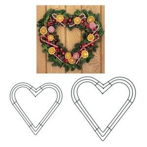 Metal corazón alambre floral guirnalda marco artesanía DIY año nuevo boda vacaciones