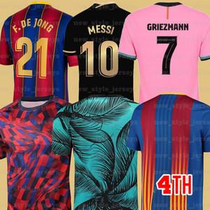 10 Messi 2021 Barcelona Soccer Jersey 7 Griezmann Fati Martens Semedo Piqué Busquets Homens Kit Kid Kit Camiseta de Fútbol Umtiti Firpo Dembélé