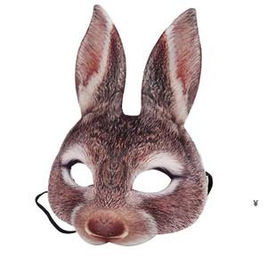 Masque de lapin de Pâques Masque à moitié visage de lapin Masque d'oreille Eva dames Bunny Masque Costume Cosplay Accessoire HWF4989