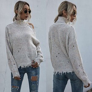 Loose fall winter off shoulder long sleeve high neck solid color versatile knitting sweater women's 2021 NEW sweater