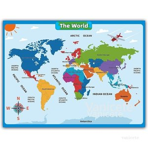 60*45cm America Map Wall Stickers Children Geography Learning Early Childhood Education America Map Poster Chart Classroom T2I52317
