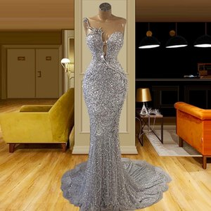 Glitter Silver Lace Mermaid Evening Dresses Sheer Jewel Neck Sequined Beaded Special Occasion Prom Gowns 2021 Plus Size