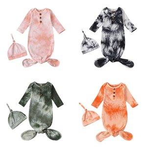 الوليد الطفل قماط بطانية قبعة 2 قطع التفاف ins طفل الكرتون النوم الأكياس التصوير الدعامة التعادل صبغ الرضع كيس النوم 229 U2