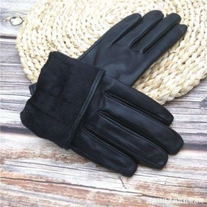 Plush and thin autumn gloves Leather winter men's warm gloves women's black separate finger size independent packaging