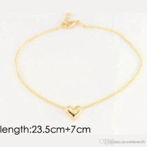 2020 Girl Fashion Simple Heart Chevle Bracelet Chaîne Bijoux en sandale de pied de plage C00021 SMAD