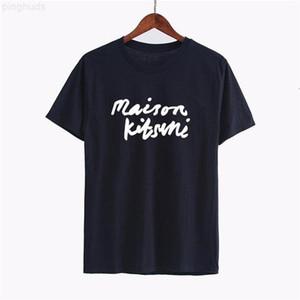 Geometric 19ss Maison Kitsune Printed Letter Stylist T Shirt Fashion Summer T Shirt Tee Casual Men Women Street Short Sleeve HFHLTX024