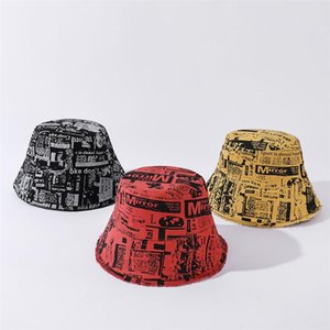 Letters Newspaper Print Bucket Hat Women's Reversible Fisherman Caps Spring Summer Designer Bob Hats Men's Sunshade Panama