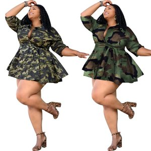 Plus size Winter Lady Jackets Coats Women Thick Jackets camouflage Print Street Sashes Wear Full Sleeve Cropped Fall Coat GL8860