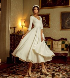 New Simple White Tea-length Wedding Es 2021 Half Sleeve Soft Satin Beach Boho Bridal Gown Princess Party Robe De Mariee Ys1f