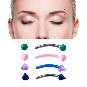 Acrilico Sopracciglio Piercing Stud Colorcingl Banana Anelli curvi Bilanciere Cartilagine Anello Tragu Helix Lip Bar Body Jewelry