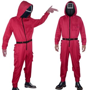 Cosplay Anime Costumes Squid Game Jumpsuits Loose Men Women Casual Solid O Neck With Pocket Jumpsuit Romper Round Six Halloween Cosplay Cost