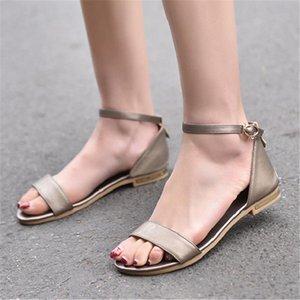 2021 Mujeres Sandalias Sandalias Pisos Casual Correa Gladiador Sandalias Genuinas Cuero Moda Oro Blanco Playa Plana Zapatos Mujeres Zogeer